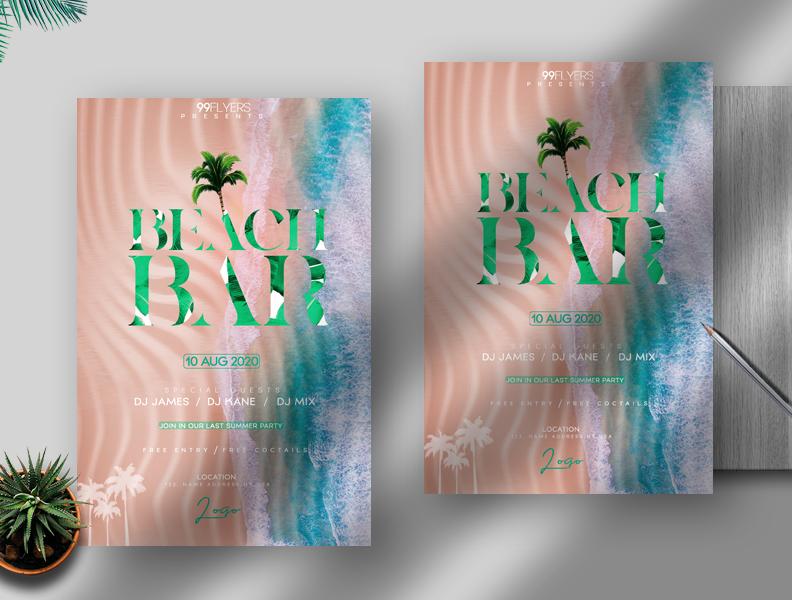 Beach Bar Free PSD Flyer Template