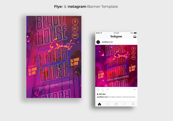 Beach House Flyer & Instagram Banner