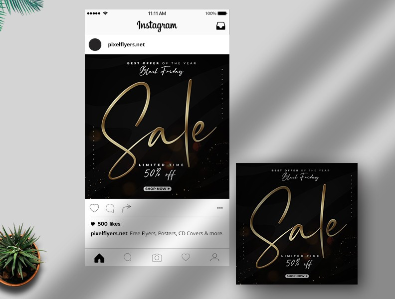 Black Friday Sale Free Instagram Post PSD Template