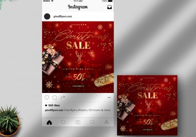 Christmas Sale Free Instagram Post PSD Template