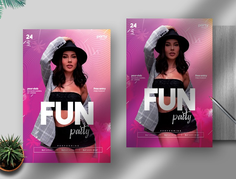 Fun Party Free PSD Flyer Template