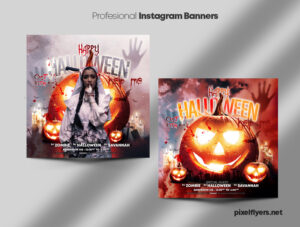 Halloween Night Instagram Banners PSD Template