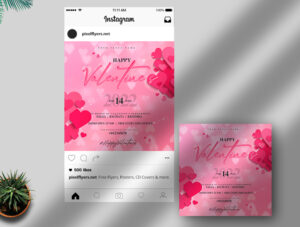 Happy Valentine's Day Free Instagram Post PSD Template