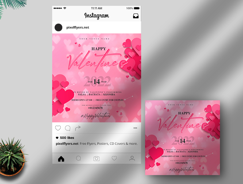 Happy Valentine's Day Free Instagram Post PSD Template