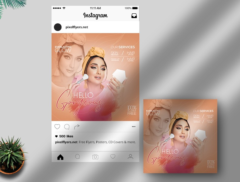 Hello Gorgeous Free Instagram Post PSD Template