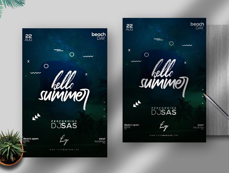 Hello Summer Flyer Free PSD Template
