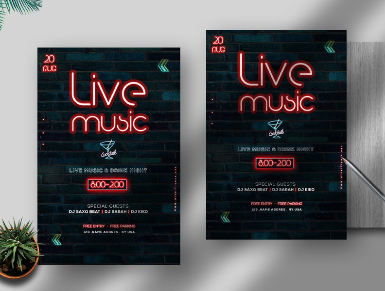 Neon Live Music Free Flyer Template (PSD)