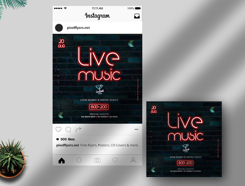 Live Music Free Instagram Post PSD Template
