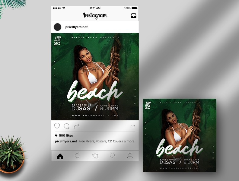 Beach Days Free Instagram Post PSD Template