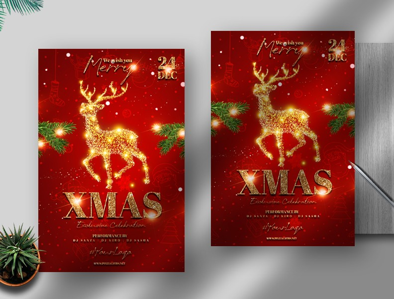 Christmas Party Free PSD Flyer Template