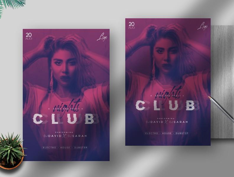 Club Nights Free PSD Flyer Template