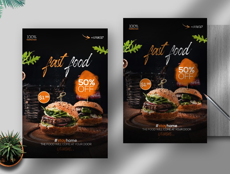 Fast Food Delivery Free PSD Flyer Template