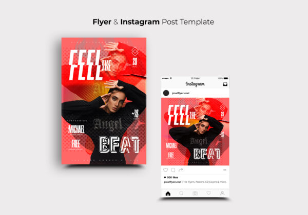 Feel The Beat Party Flyer PSD Template