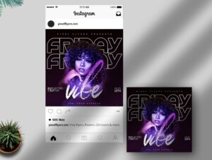 Friday Vibe Free Instagram Post PSD Template
