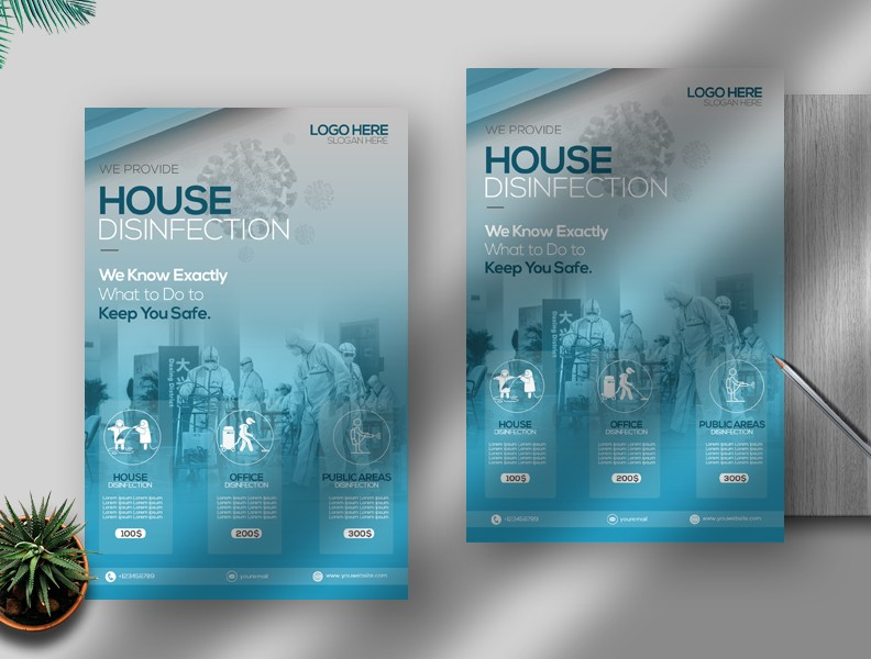 House Disinfection Free PSD Flyer Template