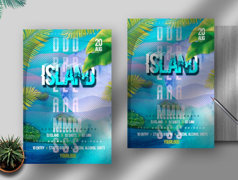 Island Dreams Flyer Free PSD Template
