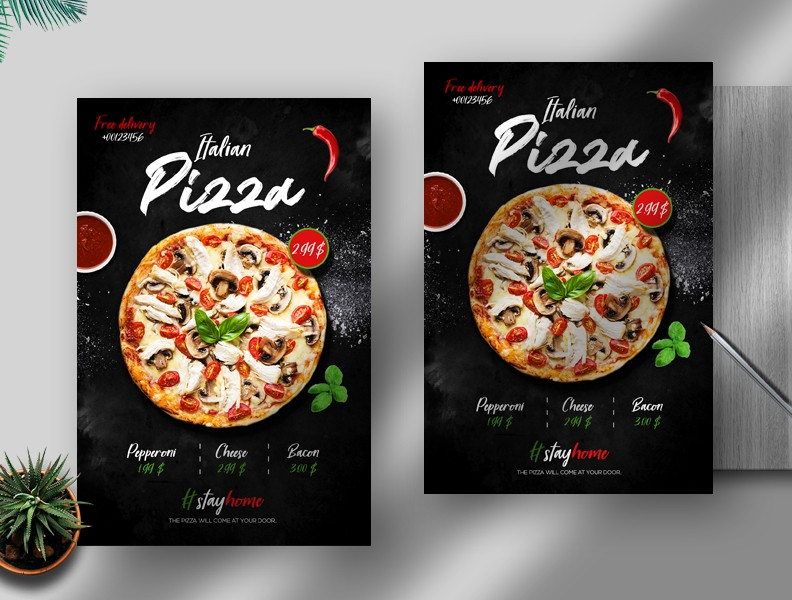 Italian Pizza Delivery Free PSD Flyer Template