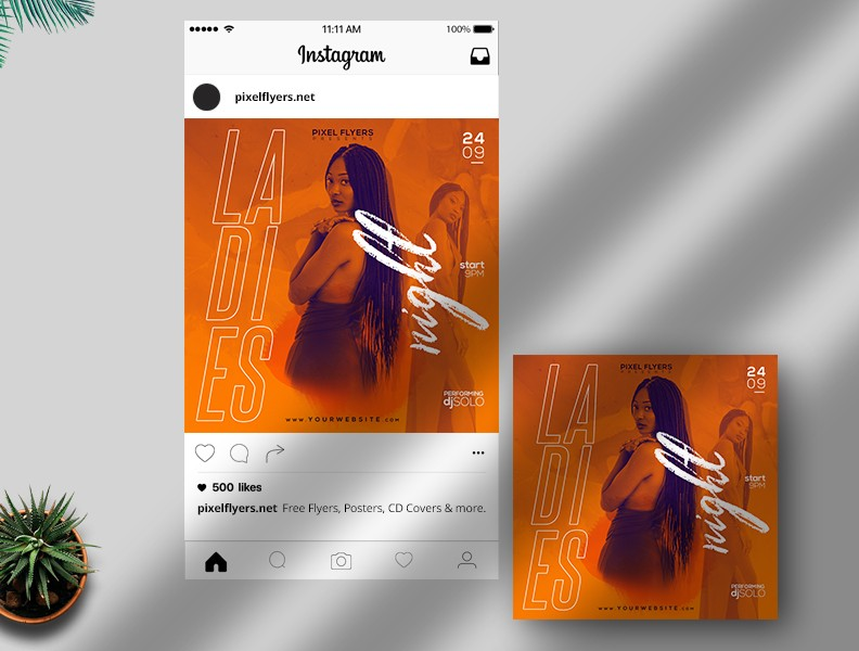 Ladies Night Free Instagram Post PSD Template