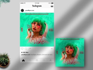 Neon Vibe Free Instagram Post PSD Template