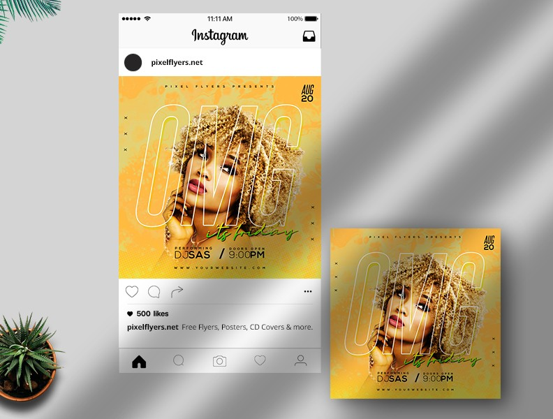 Omg It's Friday Free Instagram Post PSD Template