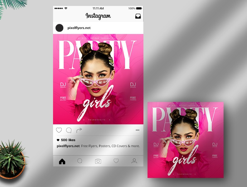 Party Girls Free Instagram Post PSD Template