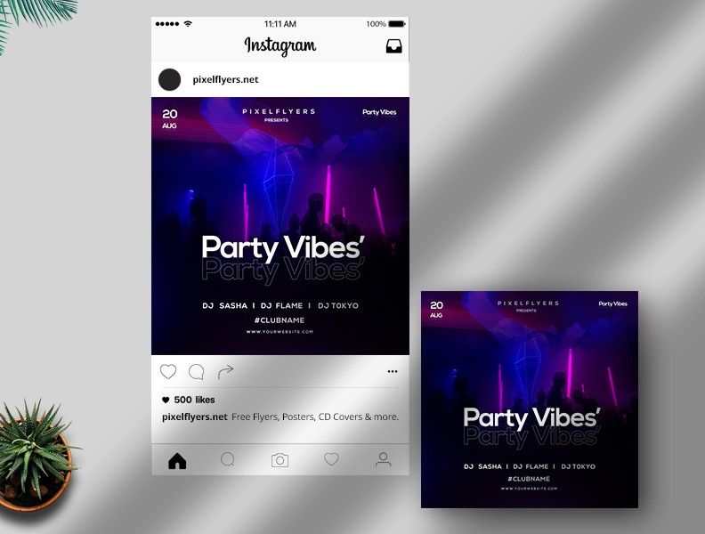 Party Vibes Free Instagram Post PSD Template