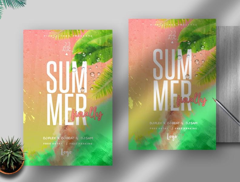 Summer Finally Free PSD Flyer Template