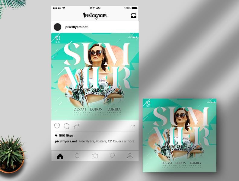 Summer Vivid Free Instagram Post PSD Template