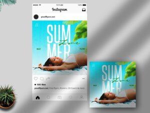 Summer Zone Free Instagram Post PSD Template