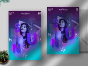 Sunset Vibe Flyer Free PSD Template