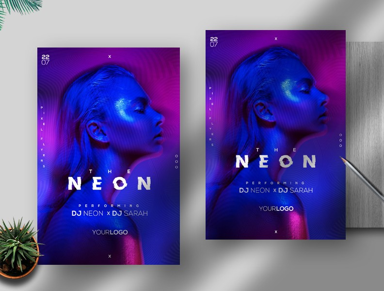 The Neon Vibe Free PSD Flyer Template