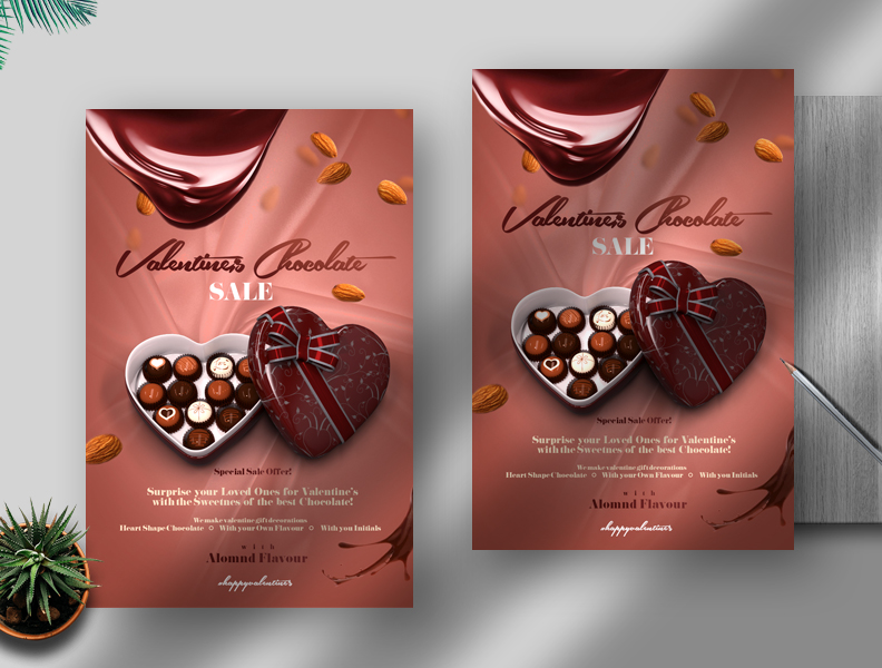Valentine's Chocolate Sale Free PSD Flyer Template
