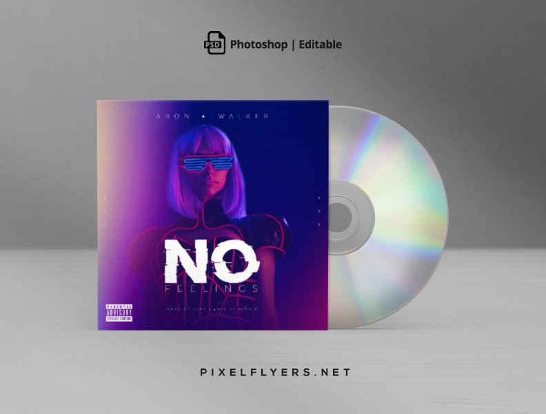 No Feelings Electro CD Cover Free PSD Template