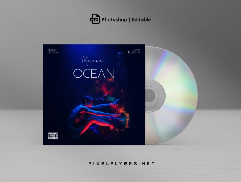 Ocean Mixtape CD Cover Free PSD Template