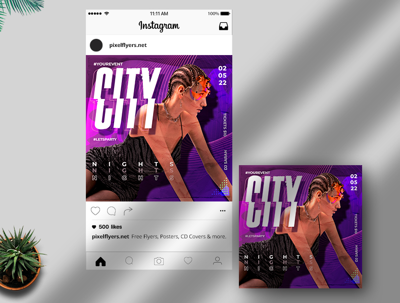 Party Nights Free Instagram Post PSD Template