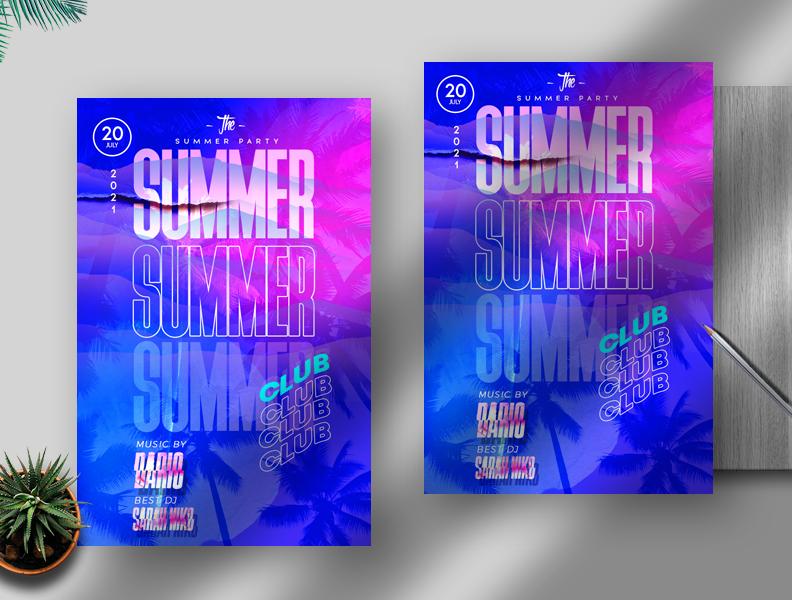 Summer Club Free Flyer PSD Template