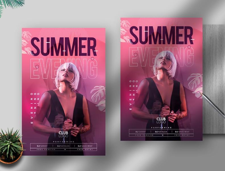 Summer Evening Free PSD Flyer Template
