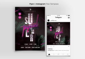 Summer Tropical Flyer & Instagram Banner Template