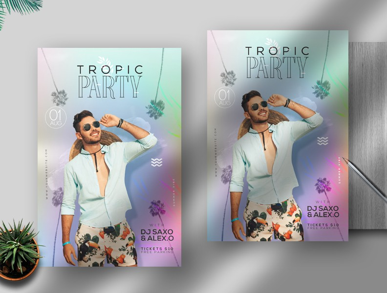 Tropic Party Event Free PSD Flyer Template