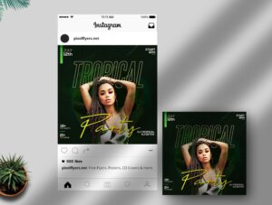 Tropical Party Free Instagram Post PSD Template