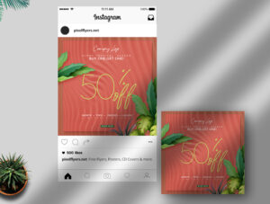 Tropical Summer Sale Free Instagram Post PSD Template