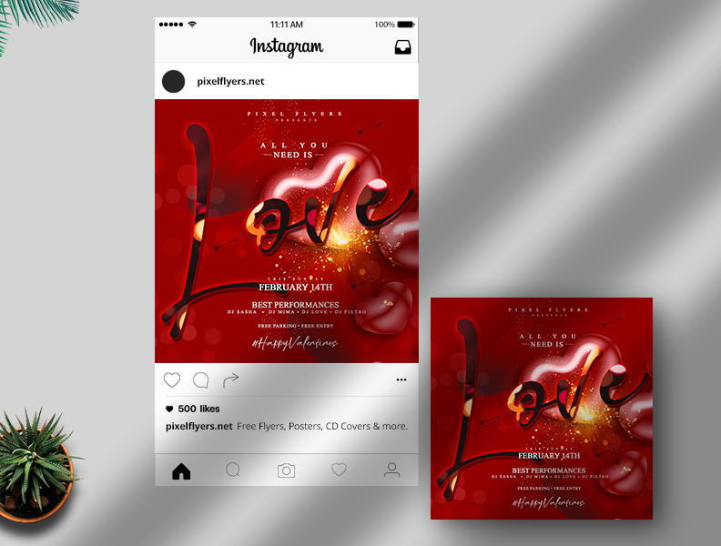 Valentine's Day Free Instagram Post PSD Template