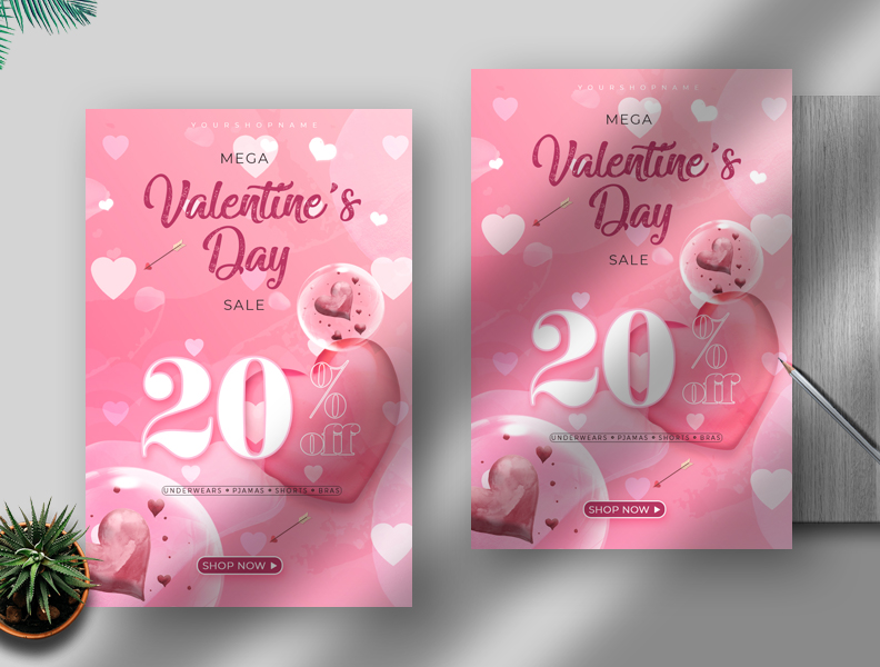 Valentine's Day Sale Free PSD Flyer Template