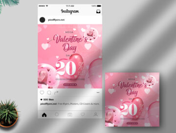 Valentine's Day Sale Free Instagram Post PSD Template