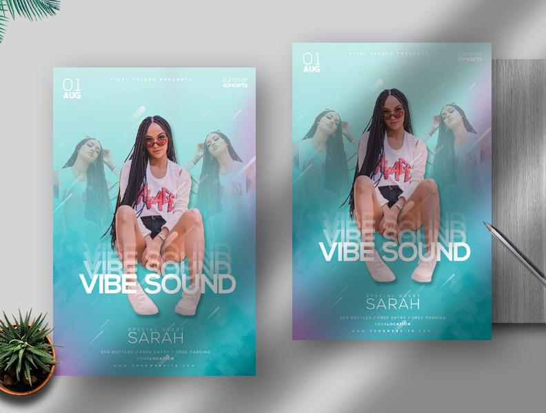 Vibe Sound Free PSD Flyer Template