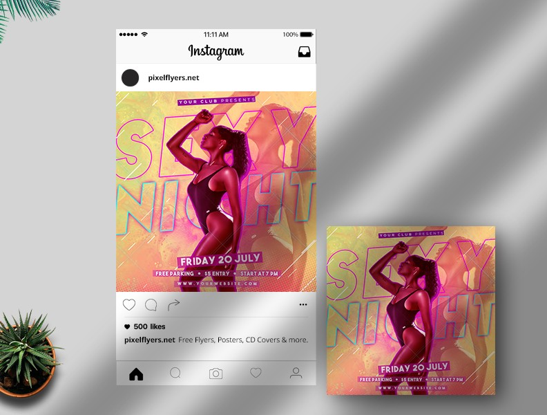 Sexy Night Free Instagram Post PSD Template