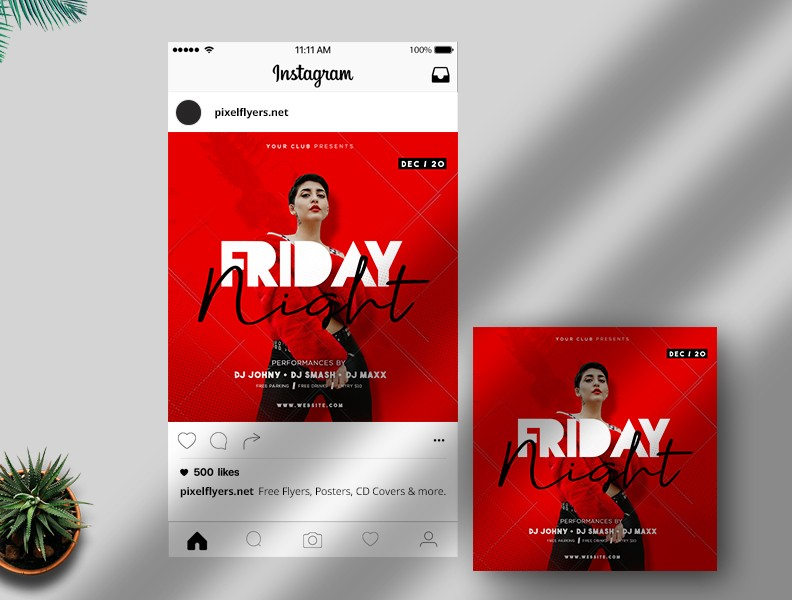 Free Friday Night PSD Instagram Template