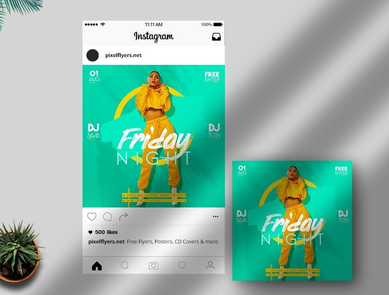 Friday Night Free PSD Instagram Template